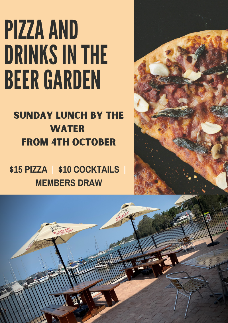 Pizza and drinks in the beer garden
